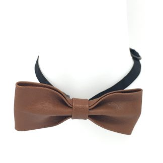 noeud papillon cuir marron