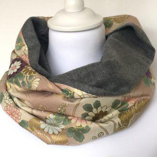 écharpe femme coton fleurs roses
