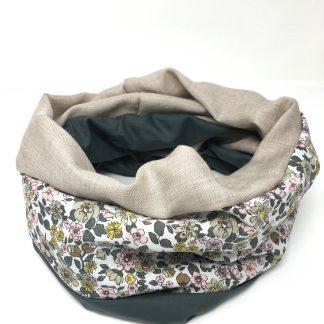 Echarpe foulard vert fleurs