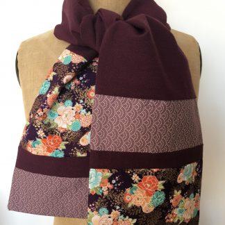 écharpe patchwork tissu japonais fleurs seigaiha
