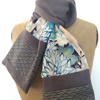 foulard bleu gris cotons japonais fleurs