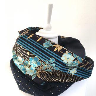 écharpe snood bleu coton japonais vagues seigaiha