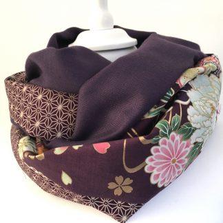 écharpe snood violet fleurs