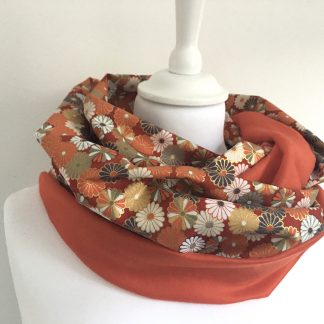 écharpe snood orange fleurs seventies