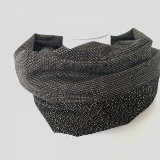 écharpe homme laine et coton japonais noir et gris