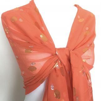 étole foulard soie orange