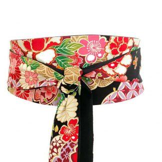 Ceinture Obi coton japonais fleurs