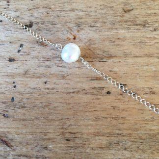 Bracelet argent perle blanche