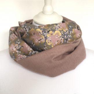 Snood rose tissu japonais fleurs or