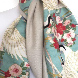 Echarpe coton japonais turquoise fleurs