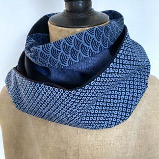 Snood bleu coton japonais vagues