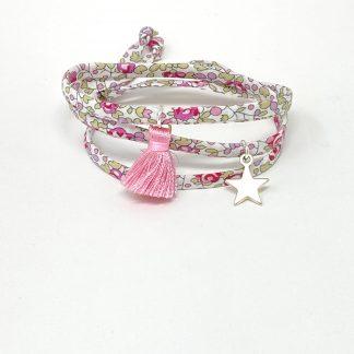 Bracelet spaghetti Liberty rose à nouer.