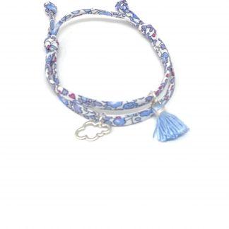 Bracelet spaghetti Liberty bleu à nouer.