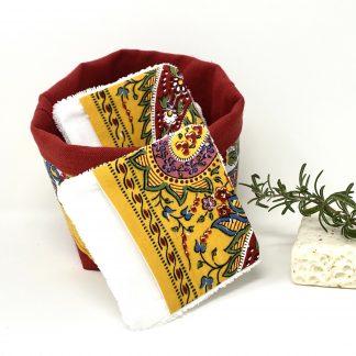 Lingette et panière tissu provençal jaune