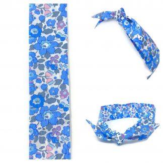 Bandeau coton Liberty Betsy bleu