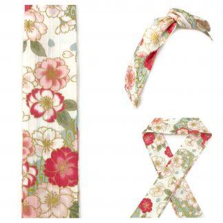 Bandeau coton japonais Sakura rose or
