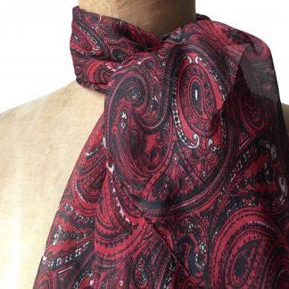 Foulard soie noir rouge avec motifs cachemire