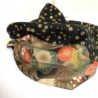 Echarpe femme Noire hiver - Coton japonais fleuri noir or vert, double tour cou