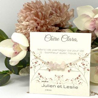 Collier quartz rose chaine argent
