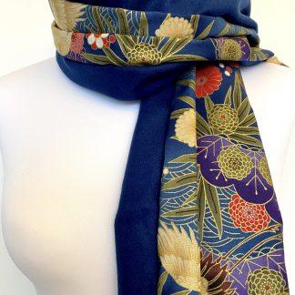 Echarpe femme en coton soie laine tissu japonais bleu or - écharpe femme bleu